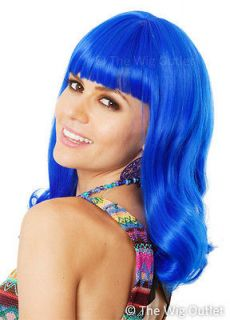 DELUXE KATY PERRY WIG Teenage Dream Long Blue Womens Fancy Dress