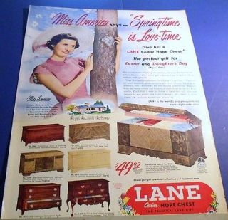 1950 Lane Cedar Hope Chest Ad ~ 7 styles ~ Miss America Jacque Mercer