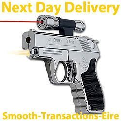 Gun Pistol Lighter with Red Laser Pointer Windproof High Powered