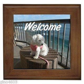 Front Door Framed Tile Sign Maltipoo Maltese Bichon Frise Puppy Dog