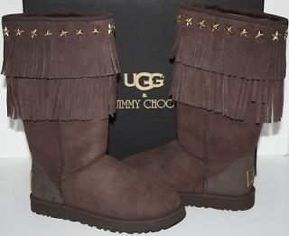 nib womens ugg jimmy choo sora chocolate boots size 8