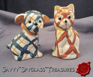 Vintage Brayton Laguna Beach California Gingham Dog & Cat Salt and