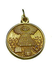 Free Mason Masonic Pyramid Gold plated over Sterling Silver ALL SEEING