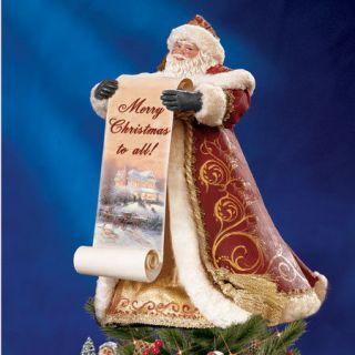 Thomas Kinkade Santa Tree Topper with Holiday Art Free Ship USA