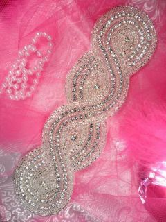 XR161 Braided Bridal Sash Silver Beaded Crystal Rhinestone Applique 9
