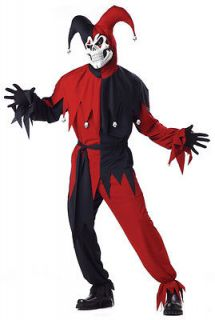 EVIL Court JESTER Renaissance RED Harlequin Costume Men M L XL