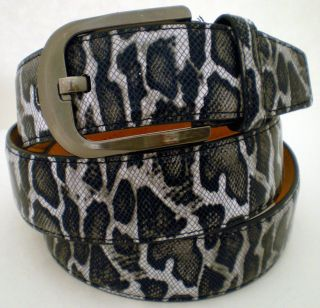 Mens Leopard Snake Skin Pattern Texture Leather Belt Metal Buckle NEW