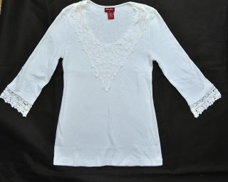 Barbara Lesser Womens 3/4 Sleeve Crochet Shirt Floral Knit Top White