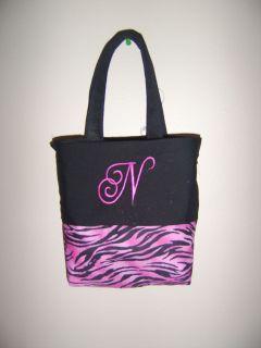 personalized girls black pink zebra print tote bag time left