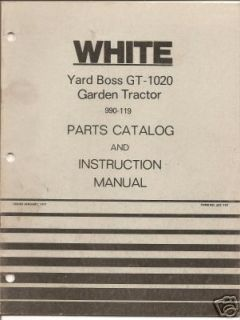 white gt 1020 garden tractor parts instruct manual