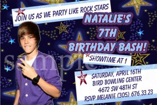 Justin Bieber Custom Birthday Party Photo Invitations More Designs
