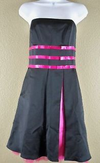 Betsy & Adam By Linda Bernell Black Pink Retro Party Strapless Dress