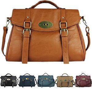 Ladies Womens Designer Leather Style Satchel Office Laptop Bag