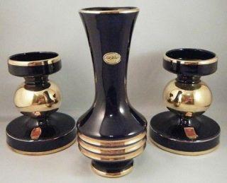 Halbach Geschenke Echt Kobalt Cobalt Blue Gold Bud Vase & 2 Candle