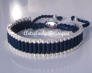 ONE DIRECTION FRIENDSHIP BRACELET SILVER LINKS & DARK BLUE BRAND NEW