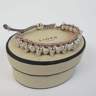 NEW GENUINE Links of London Copper & Grey Skulls Friendship Bracelet