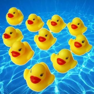 10 x cute baby bath toys rubber race duck yellow