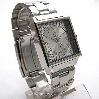 DESIGNER,CLASS​IC SQUARE SILVER STEEL MENS, GENTS DRESS WATCH, BNIB