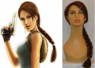 DELUXE LONG BROWN PLAITED PONY TAIL LARA CROFT TOMB RAIDER WIG