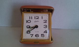 vintage linden travel alarm clock japan in case time left