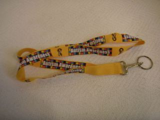 New Autism Awareness Yellow Ribbon Lanyard Keychain for Keys or ID