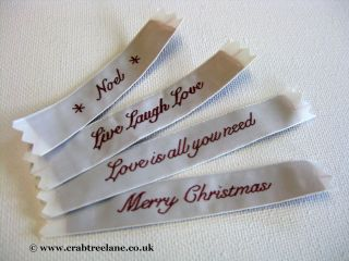 India Woven Fabric Sew In Labels   Any 2 for 99p Noel Christmas Love