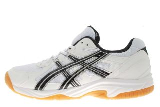 Asics Gel Doha White Black Silver Gum Mens Badminton Volleyball Shoes
