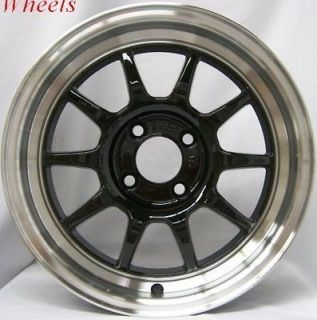 GT3 4X100 +40 ROYAL BLACK WHEEL FITS CIVIC INTEGRA CRX MINI COOPER