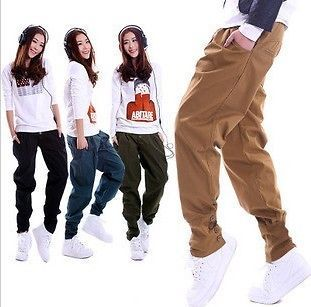 New Free Fashion Womens Harem Casual Pants Overalls Rib Buttons