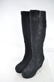 STEVE MADDEN KNEE HIGH SUEDE BOOTS WITH PLATFORM WEDGE FULL SIDE