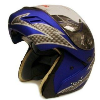 blue modular flip up full face motorcycle helmet dot l