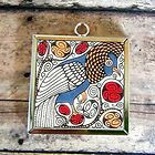 2x William Morris BIRD Art Glass Charm Pendant Necklace