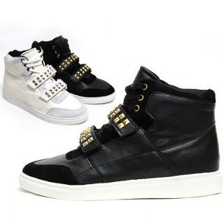 Mens Black White Studded Straps High Top Sneakers Shoes / Gold Silver