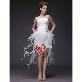 column strapless short satin organza wedding dress more options color
