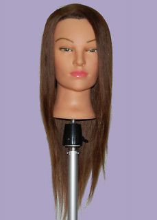 24 Cosmetology Mannequin Head 100% HUMAN Hair ** TABLE CLAMP