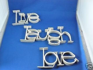 live laugh love ribbon metal word wall art shabby white