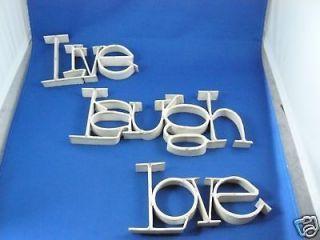 live laugh love ribbon metal word wall art shabby white