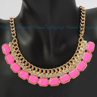 Chain Oblong Hot Pink Resin Beads White Crystal Pendant Necklace