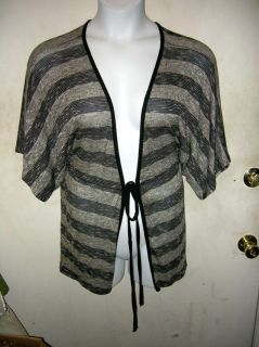Dress Barn Black Gray Gold Striped Jacket Cardigan Draping 3X New