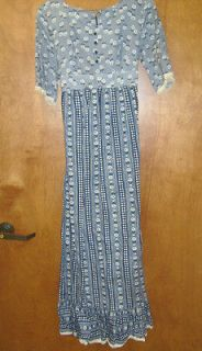 Colonial Reenactment Costume Long Dress Blue Flower Pattern Pre Owned