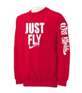 JUST FLY Wiz Khalifa Crewneck Sweatshirt White Hip Hop Taylor Gang
