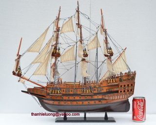 ZT70   HMS Sovereign 23 Wooden Model Ship model Sailing Boat Unique
