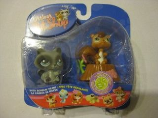 Retired Littlest Pet Shop #195 & #196 Sweet n Neat Racoon & Squirrel