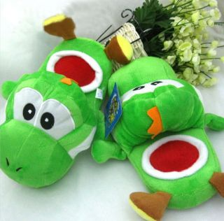 Super Mario Bros Yoshi Plush Ver. Slippers Soft Warm Shoes Green Adult
