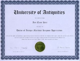 doctor antique maritime harpoon appreciation diploma  12 50