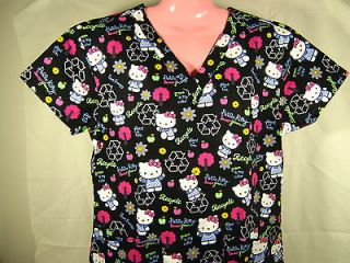 NEW Nursing Medical Scrubs Top Hello Kitty Black Earth Day Message X