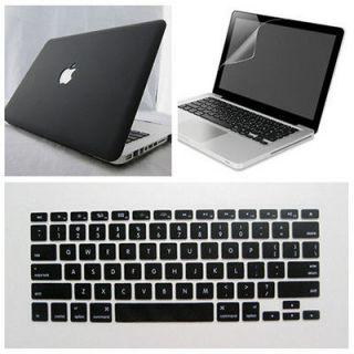 3in1 Black Rubberized Hard Case fr Macbook Pro 13+New Keyboard cover