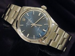 mens stainless steel rolex air king no date watch blue