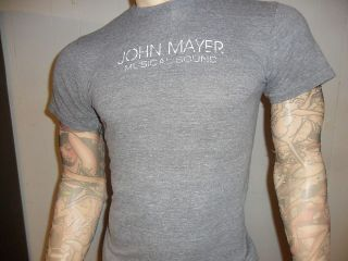 JOHN MAYER SHIRT retro Softest Thin Rayon GRAY Musical Sound Free USA