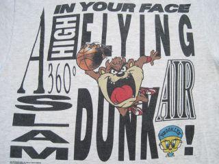 1991 vintage TAZ TWEETY slam dunk T SHIRT spike lee AIR JORDAN large